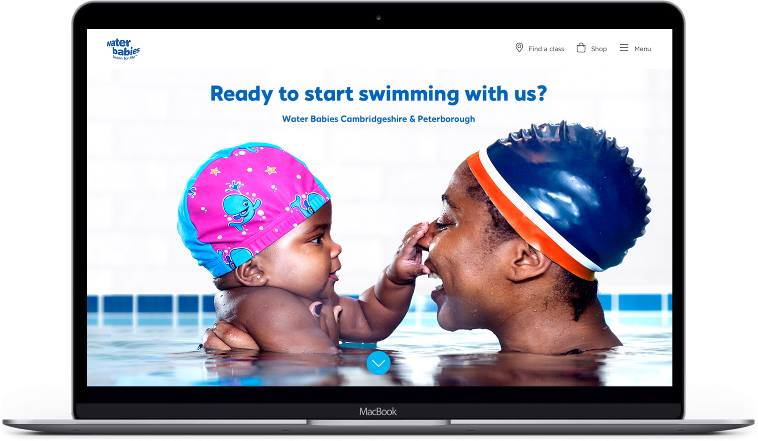 Water Babies website on a laptop
